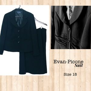 EVAN-PICONE SINGLE BREASTED 3- BUTTON SKIRT SUIT